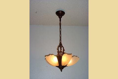 5 slip shade vintage lighting fixture, antique glass shades