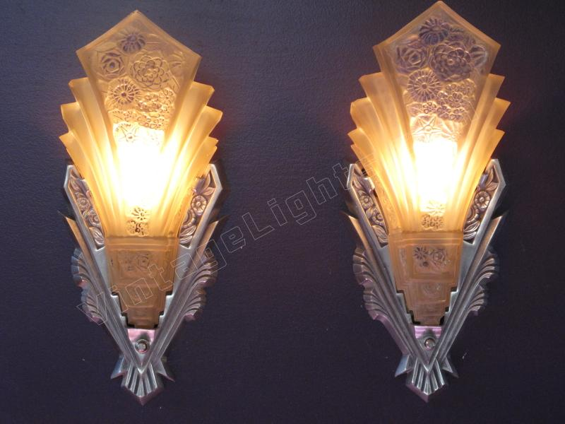 Art Deco Wall Sconces art deco home theather sconces nickel finish consolidated shades