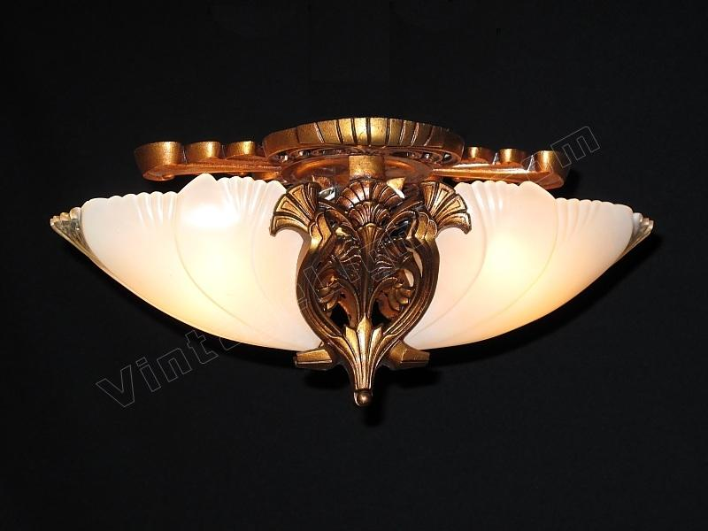 Vintage Flush Mount Antique Lighting Fixture Bungalow Art Deco Home Bat Wing Bird