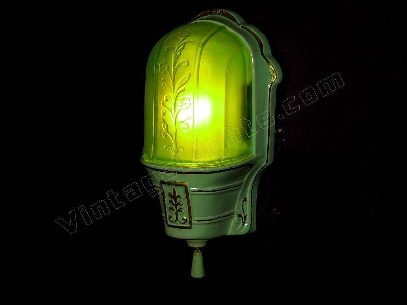 antique green lighting fixture slip shade vintage bathroom green ...