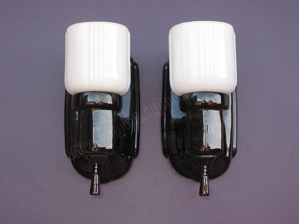 Wonderful Vintage Pair Black Porcelain Bathroom Wall Sconces With Shades