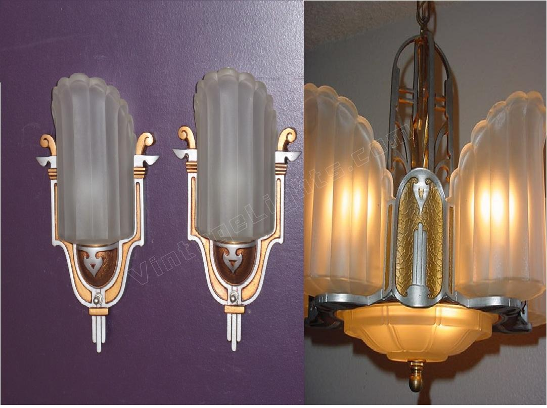 Art deco slip shade antique light fixture vintage lighting fixture arubaitofo Gallery