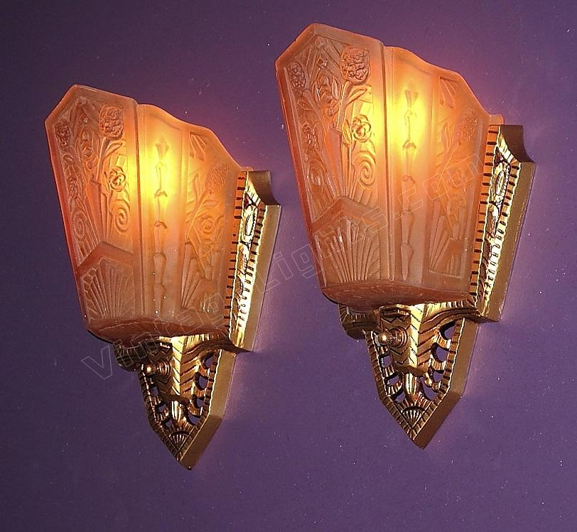 Art Deco Wall Sconce Light Fixtures : vintage art deco lights antique wall sconce lighting fixtures