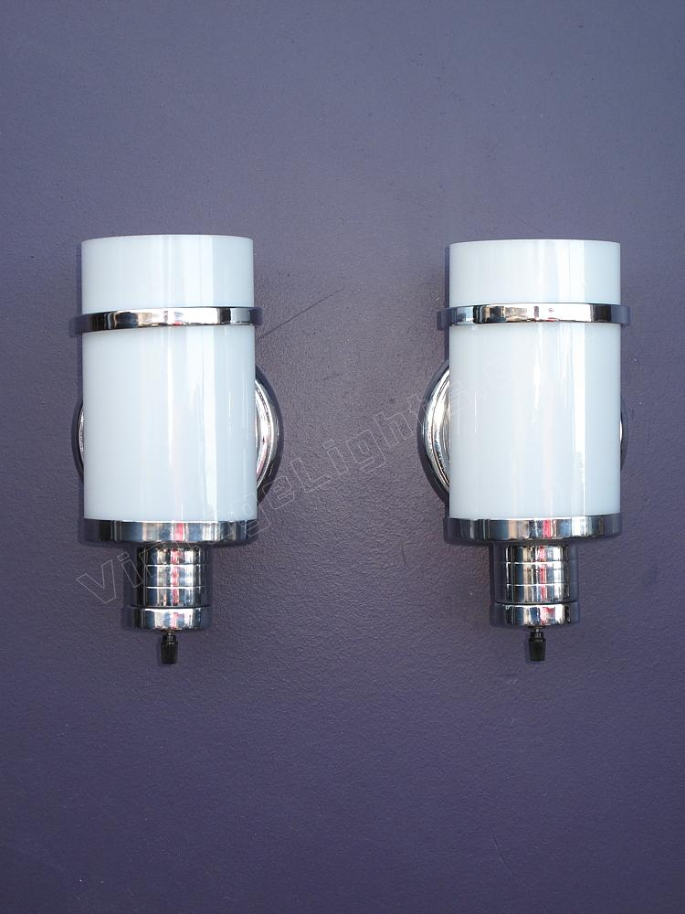 Superb SOLD Pair Vintage Nickel And Cylinder Milk Glass Wall Sconces. Bathroom