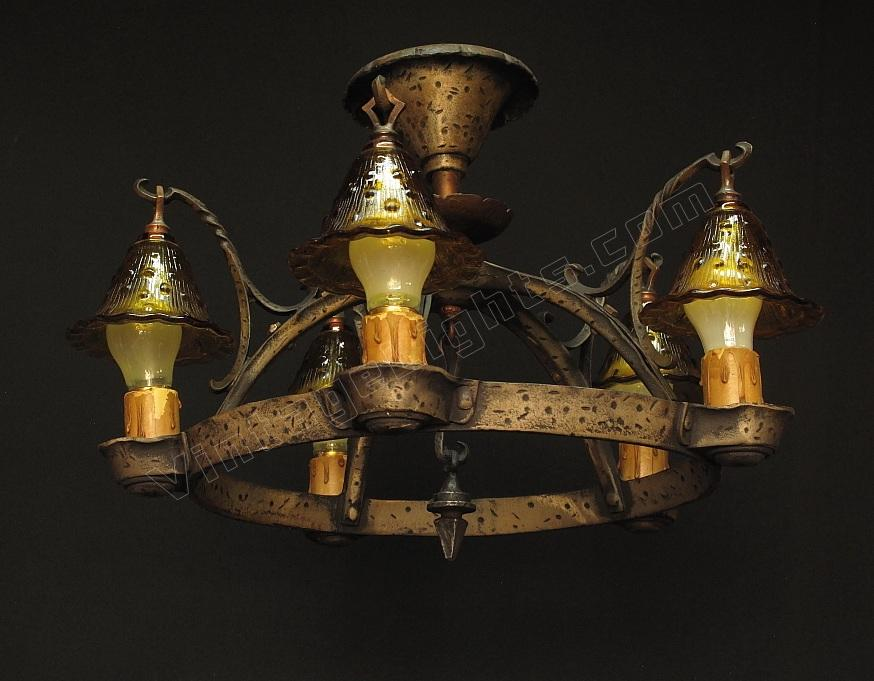 Vintage Tudor Storybook Semi Flush Ceiling Lighting Fixture