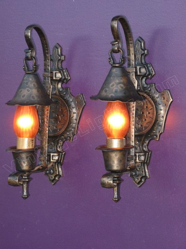 Pair antique tudor spanish revival vintage wall sconces for Spanish revival lighting fixtures