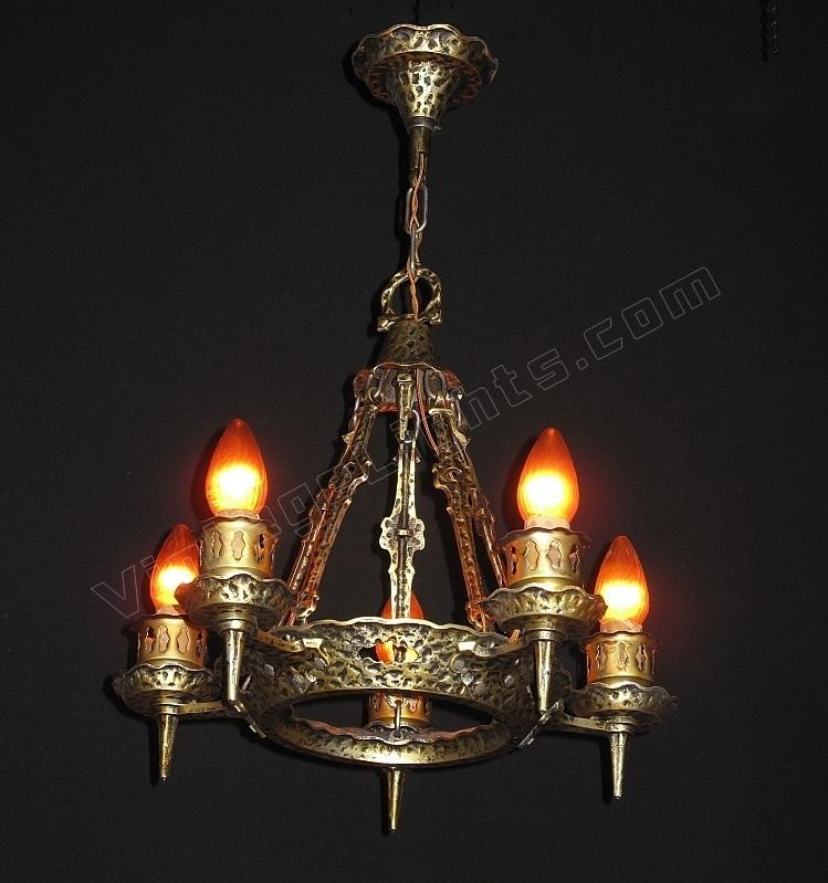 Vintage revival chandelier tudor revival spanish revival for Spanish revival lighting fixtures