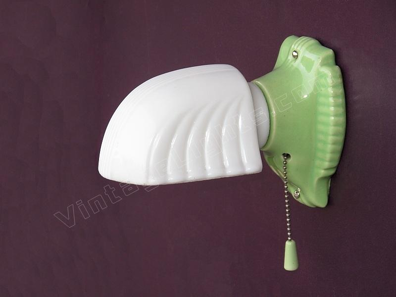 Item Code WAL20100330001 Price $349.00. Year  1930-1940 & green porcelain wall sconce art deco vintage bathroom lighting ...