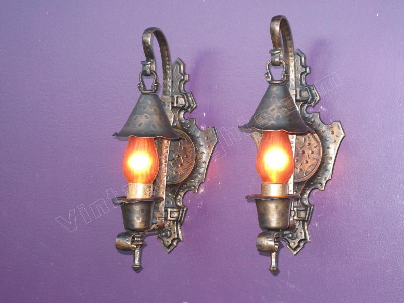 Pair Antique Tudor / Spanish Revival Vintage Wall Sconces
