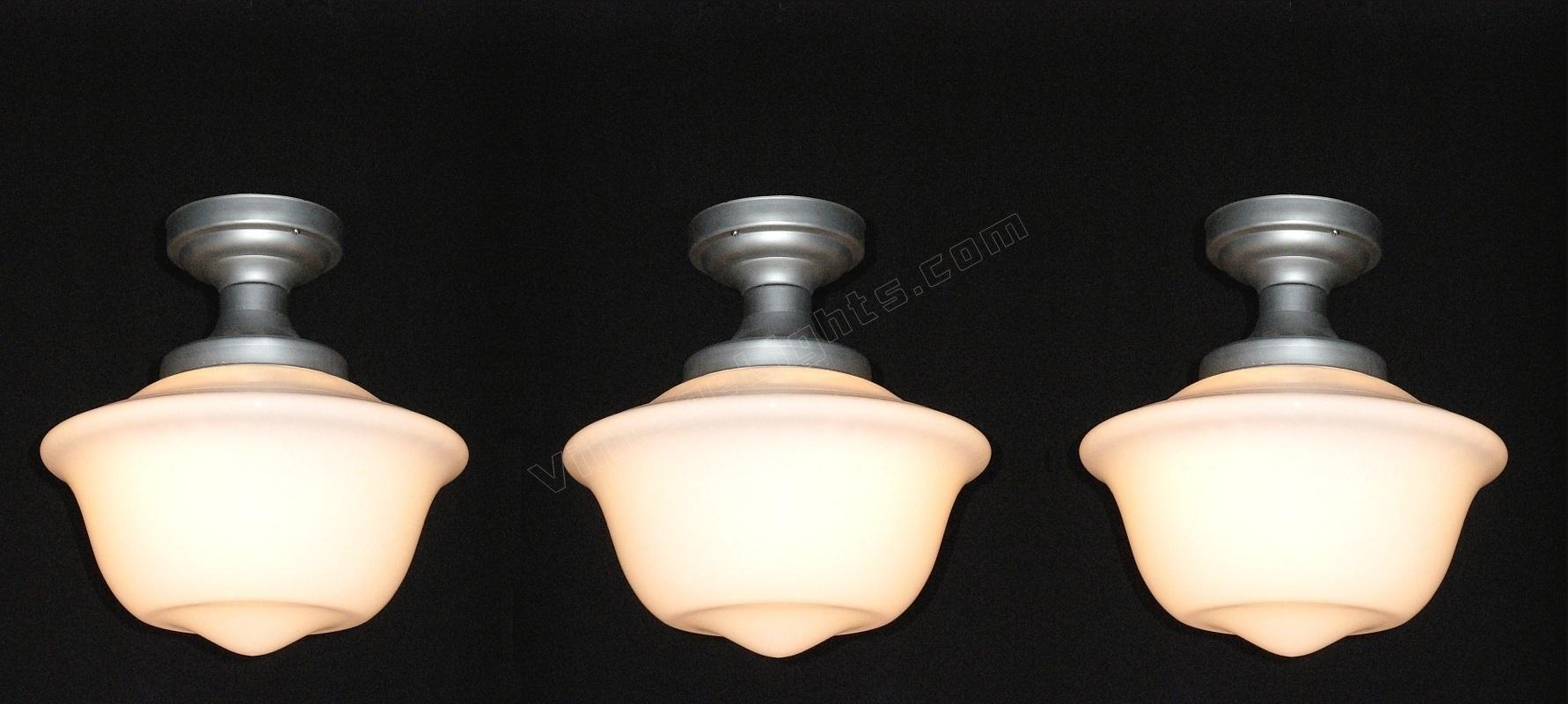 3 Matching Vintage Schoolhouse Or Department Electric Lighting Fixtures C 1920 D Each