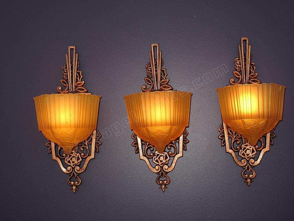 Antique Sconce Art Deco Sconce Slip Shade Art Deco Lighting