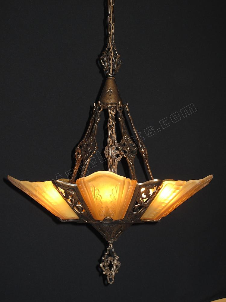 Lovely Bungalow Chandelier Part - 5: Arts U0026 Crafts 5 Shade 1930 Virden Chandelier. Our Fixture On Cover Of  AMERICAN BUNGALOW MAG