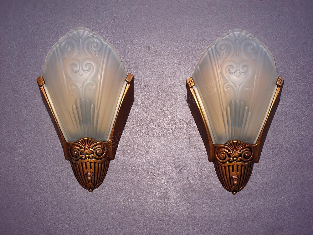 Wall Sconces Vintage : Deco Slip Shade Fixtures antique wall sconces