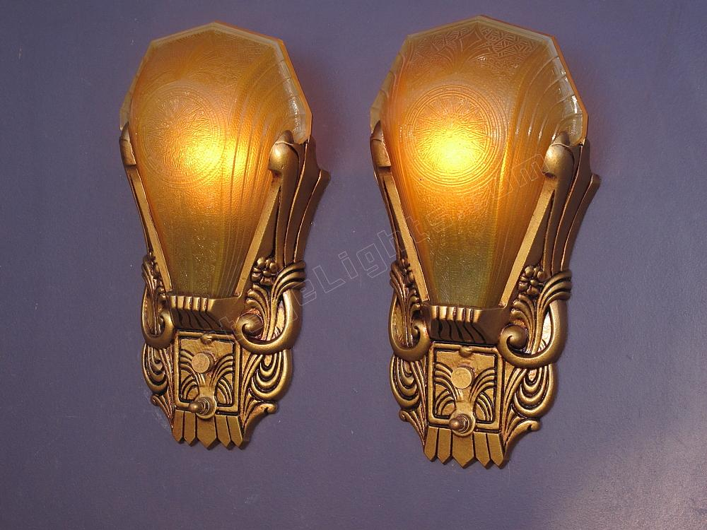 Art deco slip shade wall sconces vintage deco sconces for What kind of paint to use on kitchen cabinets for art deco wall sconces lighting