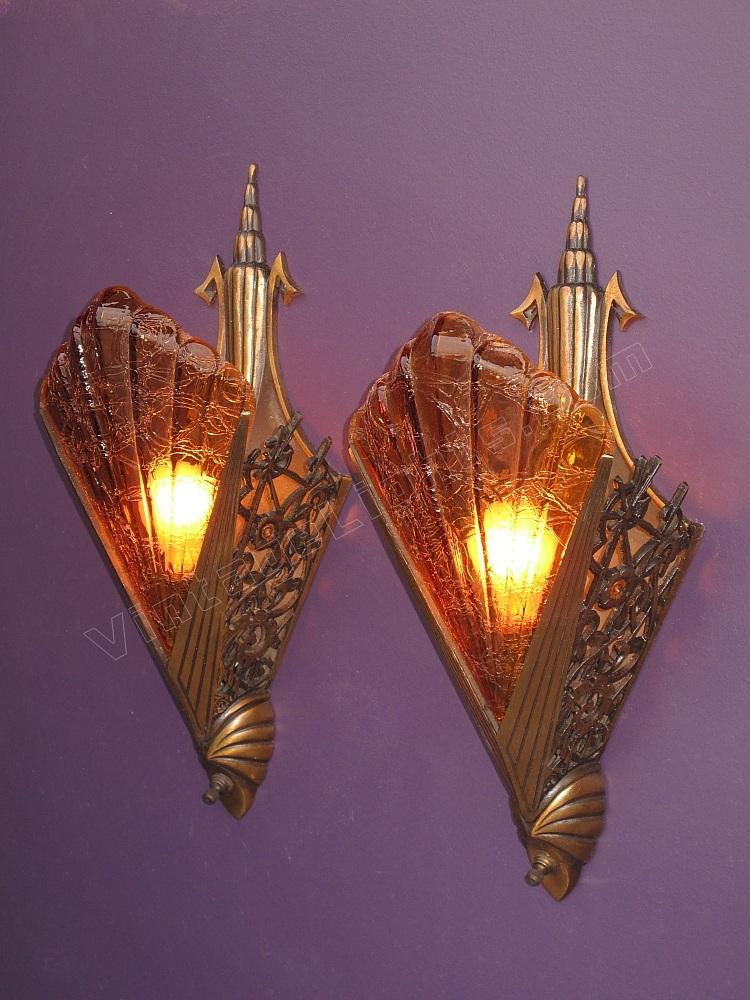 Art Deco Wall Sconces Vintage : art deco bronze sconces vintage art deco sconces