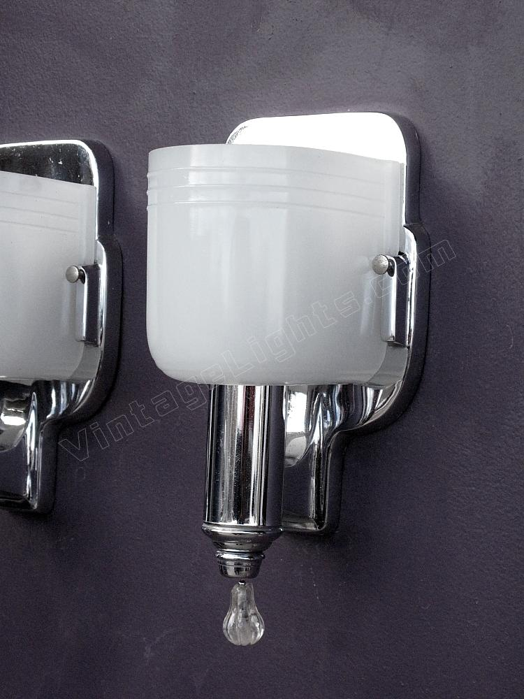 Beautiful Vintage Pair Chrome And Milk Glass Wall Sconce Lighting Fixtures