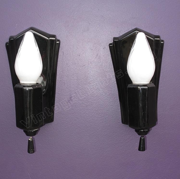 Black Porcelain wall lights | Black bathroom lighting ...