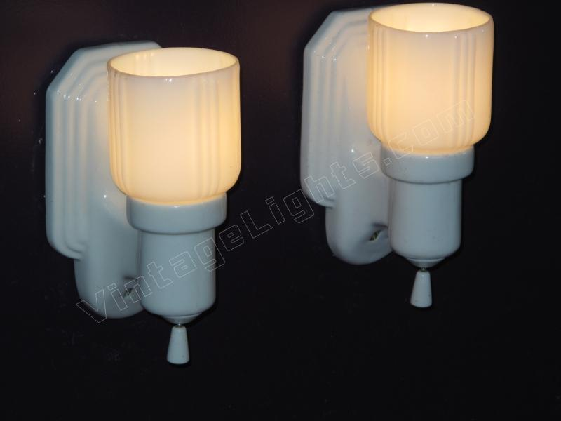 Pr Antique Bathroom Lighting Wall Fixtures. Bungalow Bath.