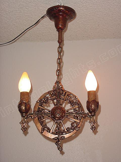 Antique 2 Bulb Spanish Revival Lighting Pendant In