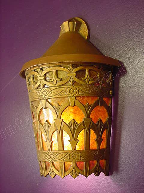Spanish revival vintage antique 1 2 round wall light fixture for Spanish revival lighting fixtures