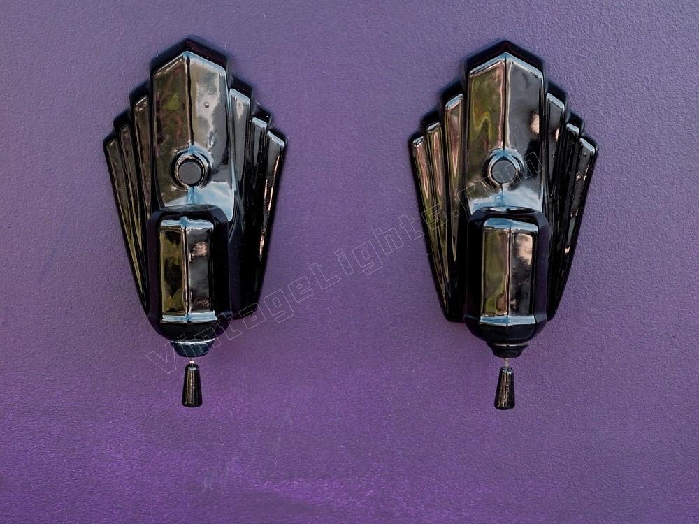 Pair Black Porcelain Wall Sconce Vintage Bathroom Lighting Fixtures