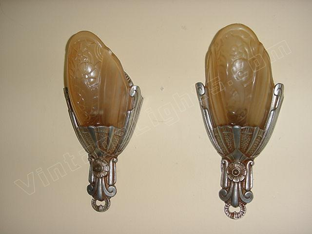 Pr Vintage Lincoln Slip Shade Wall Lighting Sconces Original Finish Antique Light Fixtures