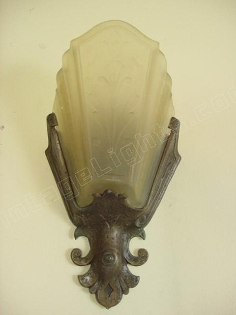 Pr Vintage Virden Slip Shade Wall Lighting Sconces Hammered Arts Crafts Style Antique Light