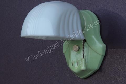 Antique Green Porcelain 1920s   1930s Wall Light Fixture Sconce