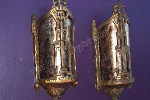 Solid Bronze Pair Of Vintage Wall Sconces