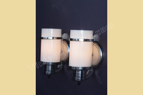 sold pair vintage nickel and cylinder milk glass wall sconces bathroom - Chrome Bathroom Sconces