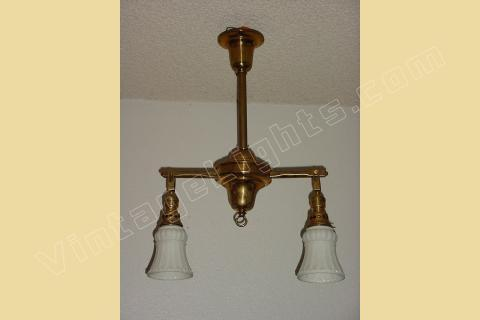 Two Antique Br 2 Shade Lighting Fixtures From Vintage Ship Or Train With Gimbaled Ends