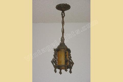 1914 Antique Hall Or Porch Light Fixture. Vintage Glass Shade On Lighting  Fixture
