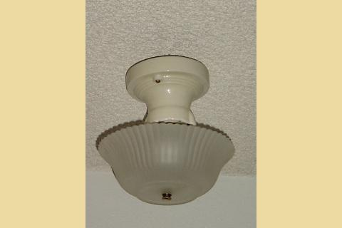 1930s Light Yellow Porcelain Ceiling Fixture With Antique Shade