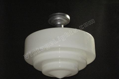 Huge Vintage Milk Glass Electric Ceiling Fixture From Schoolhouse Or  Department Store