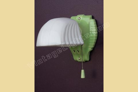Green Porcelain Wall Sconce Art Deco Vintage Bathroom Lighting - Old kitchen light fixtures