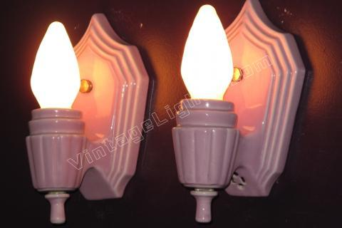 Lovely Vintage Lavender Porcelain Wall Sconces. Antique Bathroom Lighting