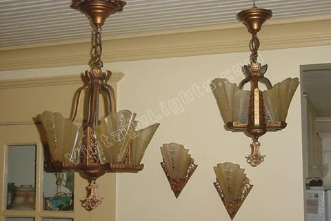4 Piece Set of Antique Slip Shade Lighting Fixtures. Vintage Consolidated Glass Co. Shades. & matching antique lighting | arts u0026 crafts lighting | craftsman ... azcodes.com