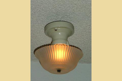 1930s Light Yellow Porcelain Celing Light Fixture With Antique Shade