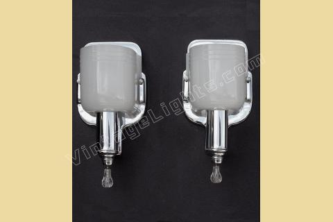 vintage pair chrome and milk glass wall sconce lighting fixtures