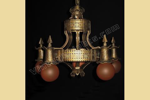 Vintage tudor chandelier antique spanish revival lighting vintage 20s 30s tudor style 5 bulb chandelier antique lighting fixture aloadofball Choice Image