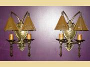 ON HOLD Pair Vintage 2 Shade Storybook Style Wall Sconces