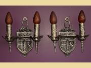 1920s 2 Light Heraldic Tudor Wall Sconces in Pewter