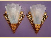 Pair Lightolier Art Deco Bungalow Wall Sconces