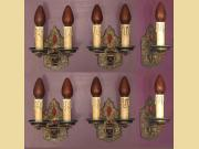 Set of Six 1920s Spanish Revival Sconces