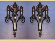 Pair Signed Moe Bridges Three Arm Classic Vintage Wall Sconce.