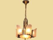 6 Shade Vintage Art Deco Slip Shade Lighting Fixture Fully Restored