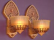 Pair Slip Shade Sconces with Native American Infleuences