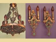 Massive Spanish Revival Chandelier with Pr Matching Sconces