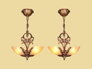 2 Matching Slip Shade Ceiling Fixture, Stylized Bird Motif on Body. Priced Each