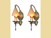 ON HOLD 2 1/2 Pair Vintage Storybook Wall Sconces 1930s